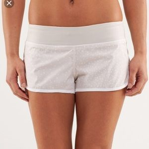 White and coral Lululemon speed shorts!